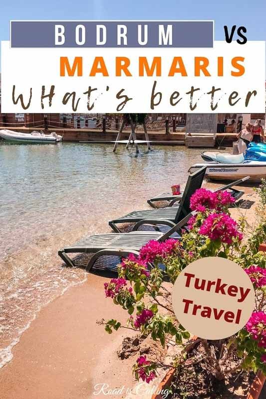 Comparison guide to choosing whether to visit Bodrum or Marmaris on your trip to Turkey. It includes weather guide, things to do, where to stay tips and more #turkeytravel #bestofturkey