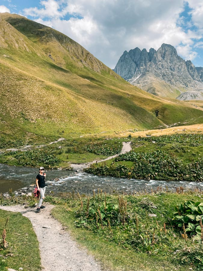 river crossing near Chaukhi Pass