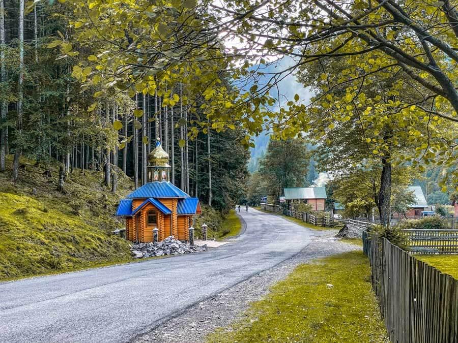driving in Ukraine Carpathian Mountains