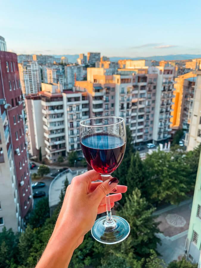 drinking wine in Georgia