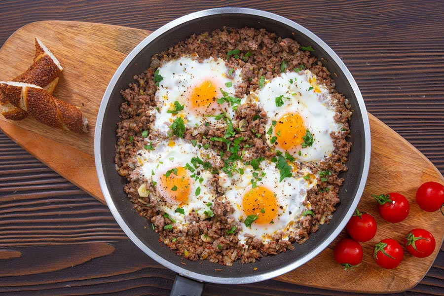 ground beef and egg - kiymali yumurta